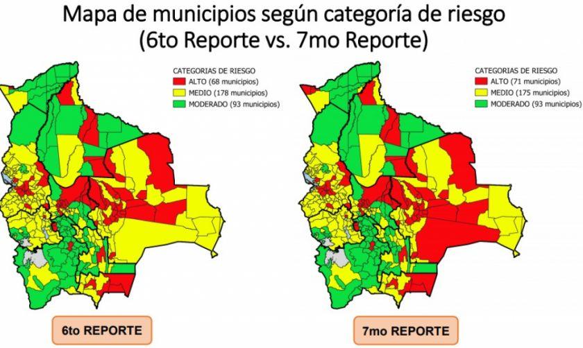 Municipios en riesgo alto suben de 68 a 71 en  el país