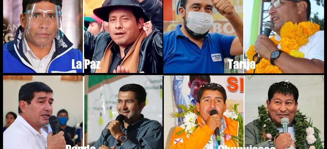 Ocho hombres en carrera y cinco frentes políticos aspiran a ganar la elección en cuatro departamentos